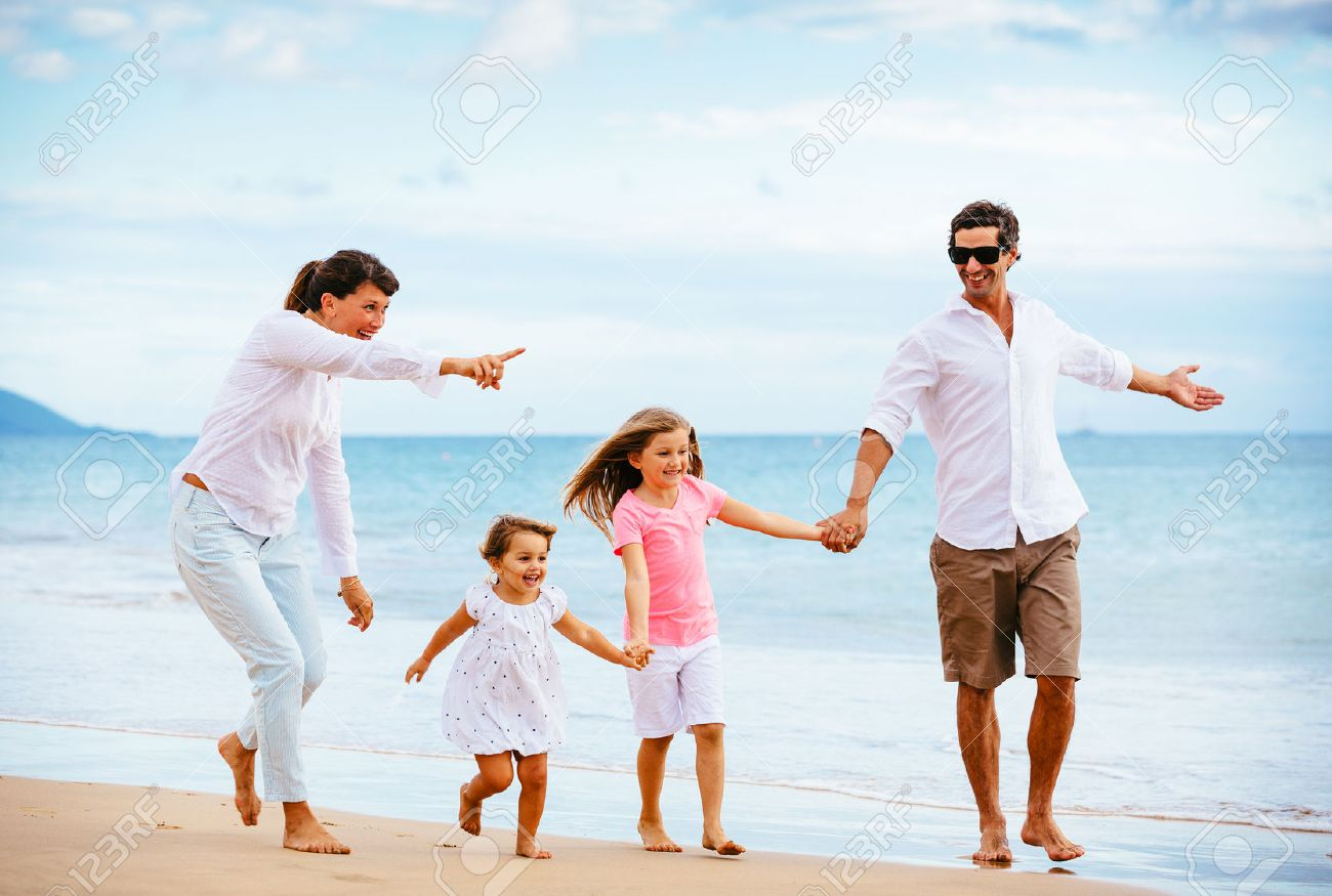 happy young family walking