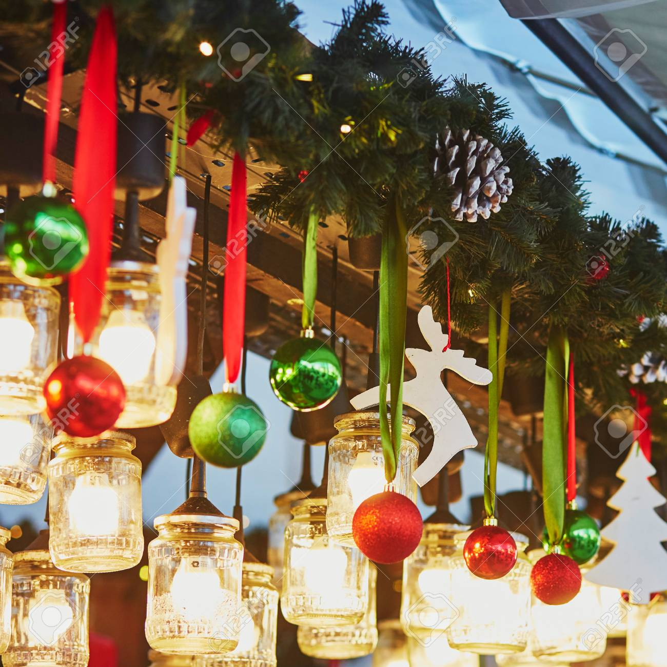 Colorful Christmas Decorations And Glass Lanterns On A Parisian Stock Photo Picture And Royalty Free Image Image 49212850