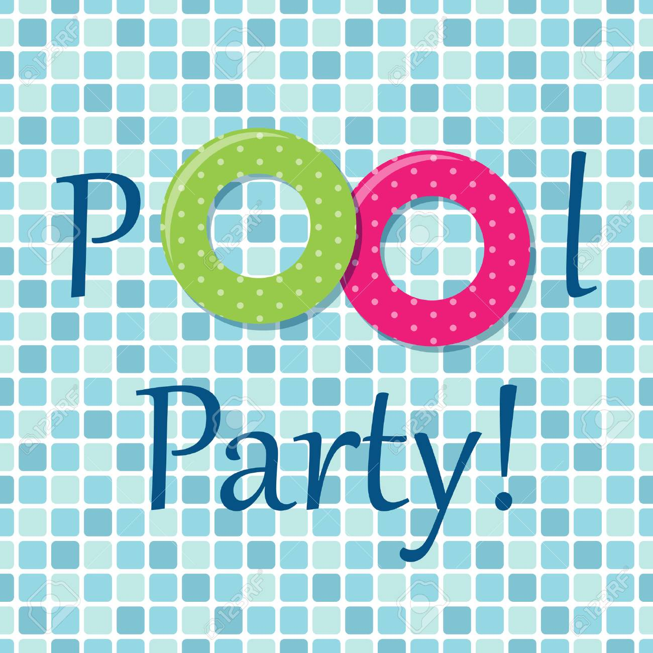 Pool Party Invitation As Two Rubber Rings On Pool Tiles Background Stock  Vector - 77743924