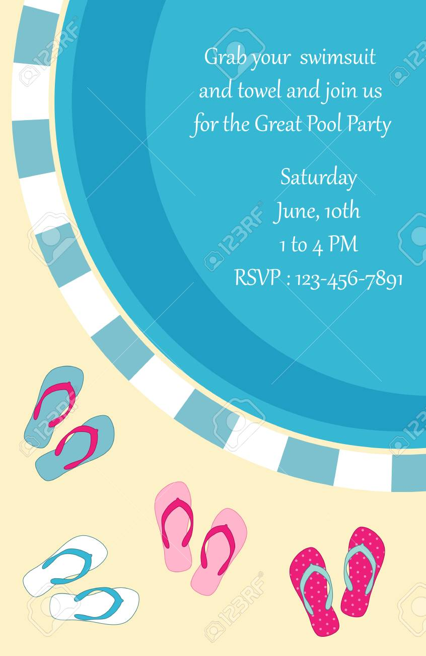 Pool Party Invitation Stock Vector - 77882840