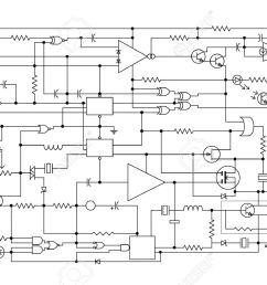 schematic diagram project of electronic circuit graphic design of electronic components and semiconductor stock [ 1300 x 866 Pixel ]