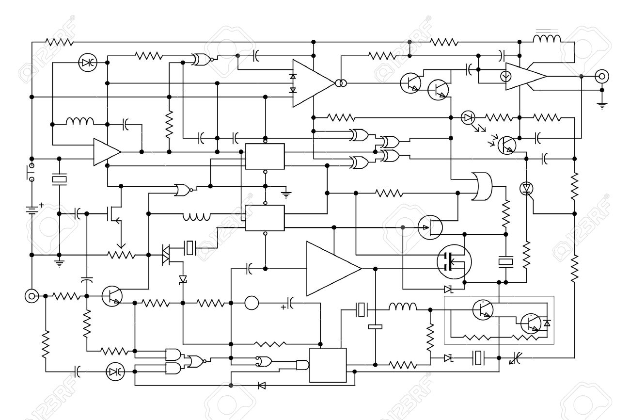 hight resolution of schematic diagram project of electronic circuit graphic design of electronic components and semiconductor stock