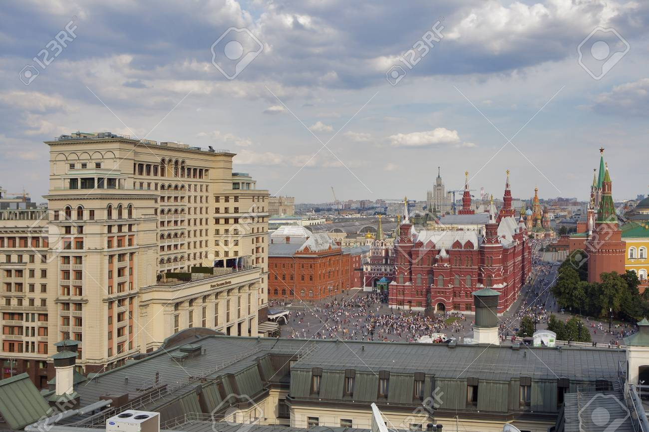Moscow Russia June 25 2018 Aerial Roof View On Moscow Historical