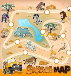 africa safari map wildlife illustration [ 1300 x 1300 Pixel ]