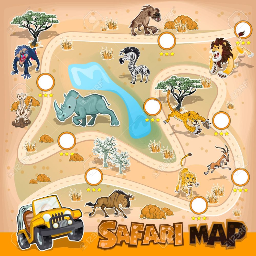 medium resolution of africa safari map wildlife illustration