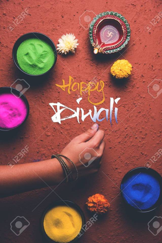 Stock Photo Of Happy Diwali Greeting Card Clicked Using Elements