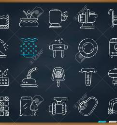 swimming pool equipment chalk icons set outline web sign kit of construction repair linear [ 1300 x 1040 Pixel ]