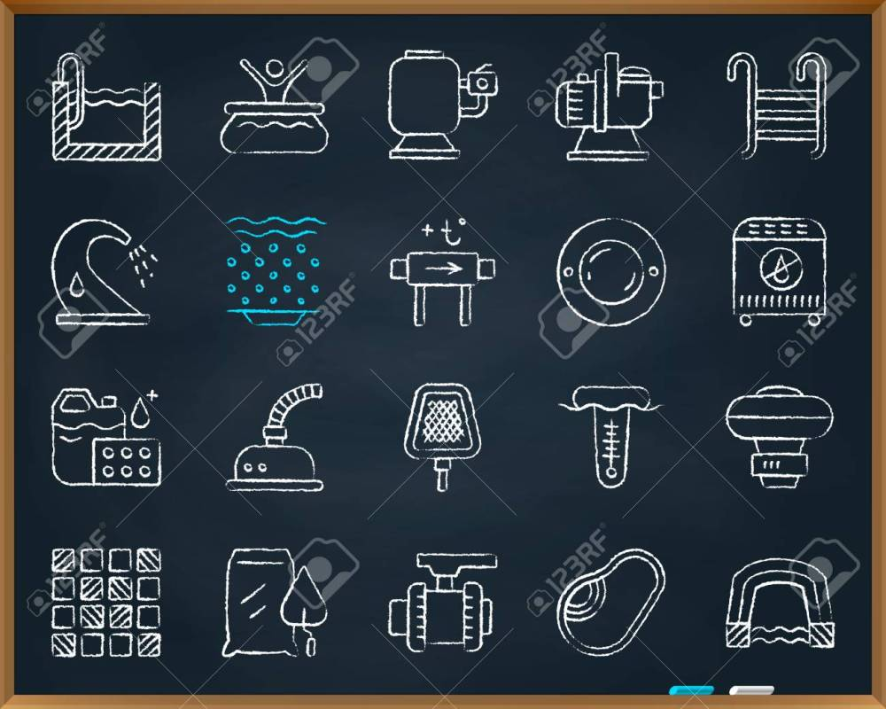 medium resolution of swimming pool equipment chalk icons set outline web sign kit of construction repair linear