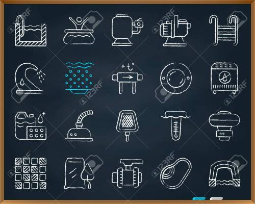 small resolution of swimming pool equipment chalk icons set outline web sign kit of construction repair linear