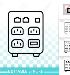 outline sign of uninterruptible power supply box linear pictogram with [ 1300 x 1130 Pixel ]
