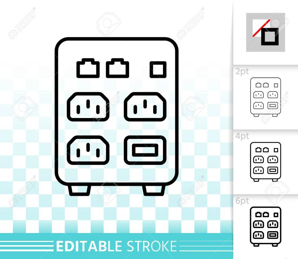 medium resolution of outline sign of uninterruptible power supply box linear pictogram with
