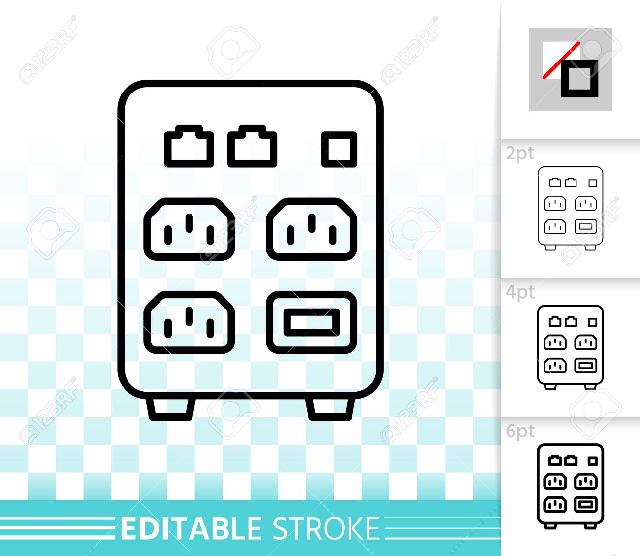hight resolution of outline sign of uninterruptible power supply box linear pictogram with