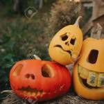 Ghost Pumpkins On Halloween Head Jack On An Autumn Background Stock Photo Picture And Royalty Free Image Image 93442029