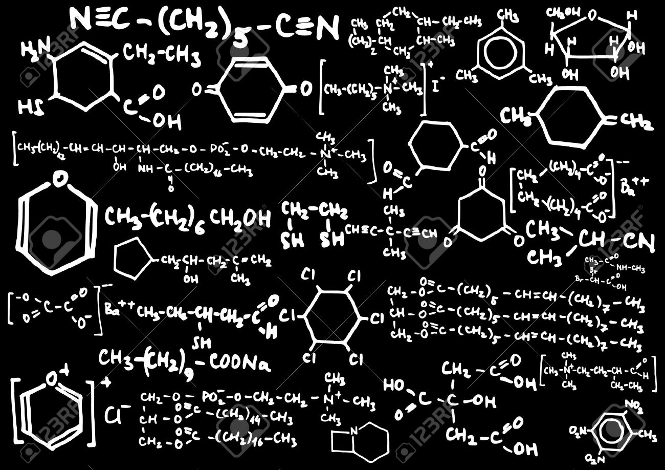 blackboard with chemical formulas