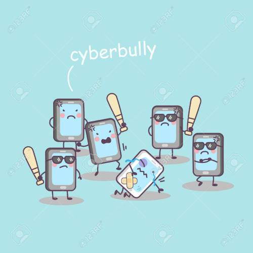 small resolution of cute cartoon cellphone bully great for technology concept design stock vector jpg 1300x1300 cyberbullying clipart