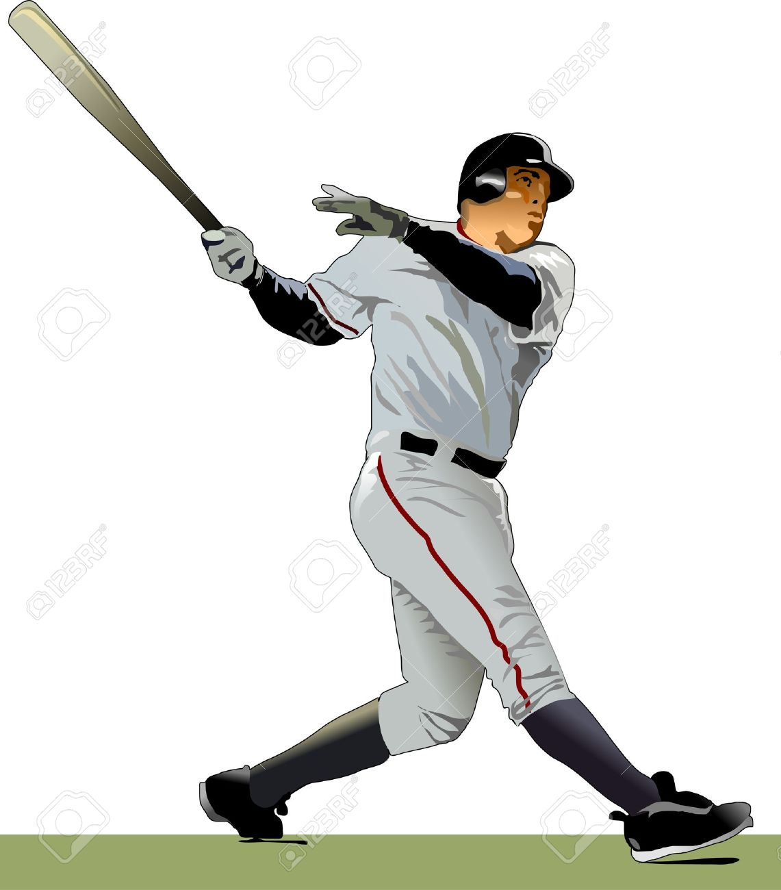 hight resolution of baseball batter illustration stock vector 9884991