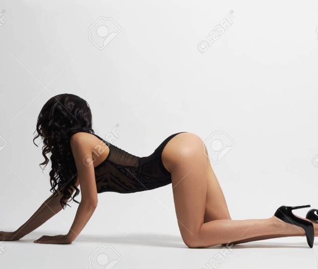 Sexy Woman In Underwear And High Heels Beauty Woman Crawling On The Floor Stock Photo