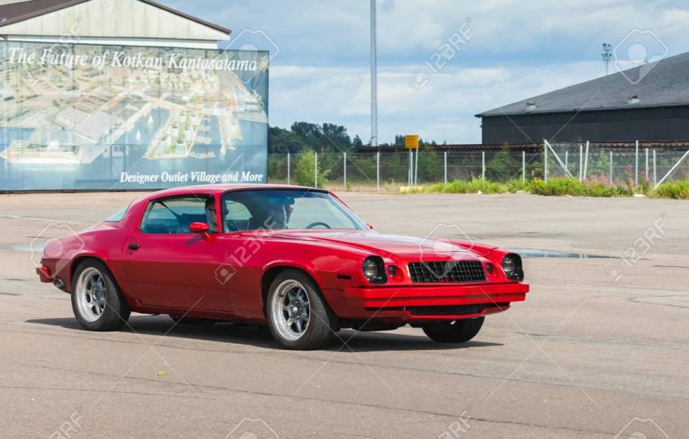 medium resolution of kotka finland july 16 2016 red chevrolet camaro sport 1976 goes down