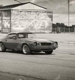 kotka finland july 16 2016 red 1976 chevrolet camaro sport goes down [ 1300 x 833 Pixel ]