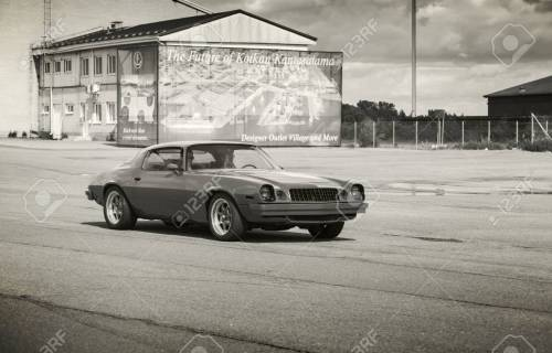 small resolution of kotka finland july 16 2016 red 1976 chevrolet camaro sport goes down