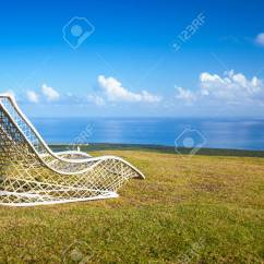 Chair Stands On High Back Patio Empty Wicker The Top Of Montana Redonda Dominican Republic Natural Landscape