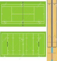 illustration of tennis court rugby field and ten pin bowling lanes accurately proportioned [ 1223 x 1300 Pixel ]