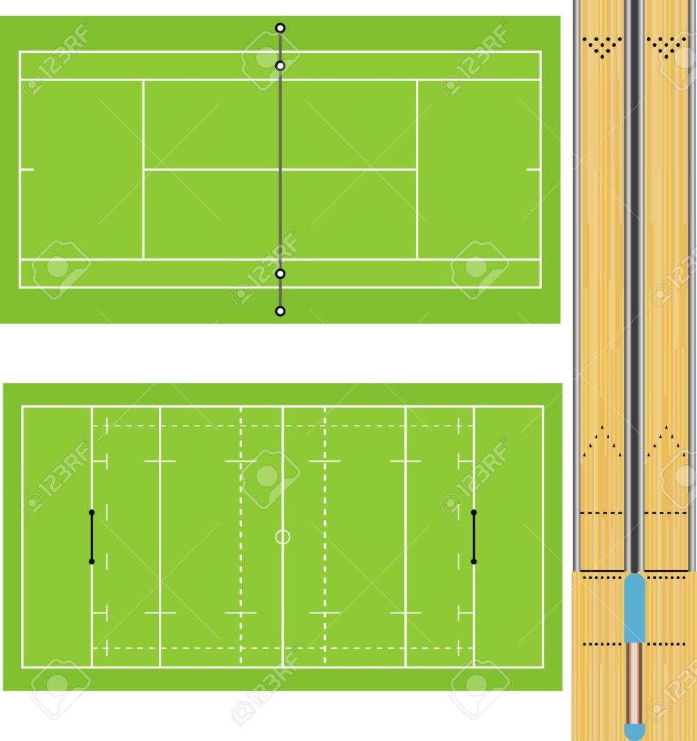 medium resolution of illustration of tennis court rugby field and ten pin bowling lanes accurately proportioned