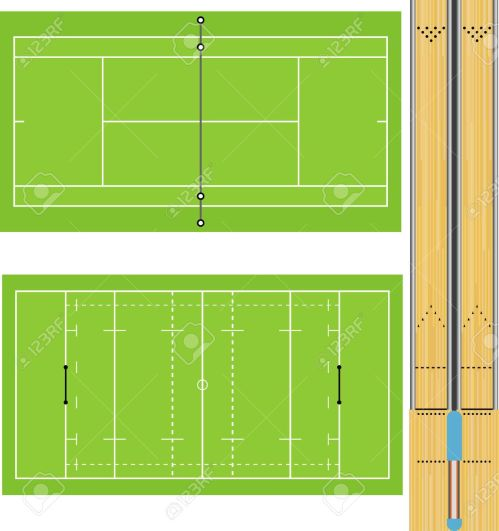 small resolution of illustration of tennis court rugby field and ten pin bowling lanes accurately proportioned