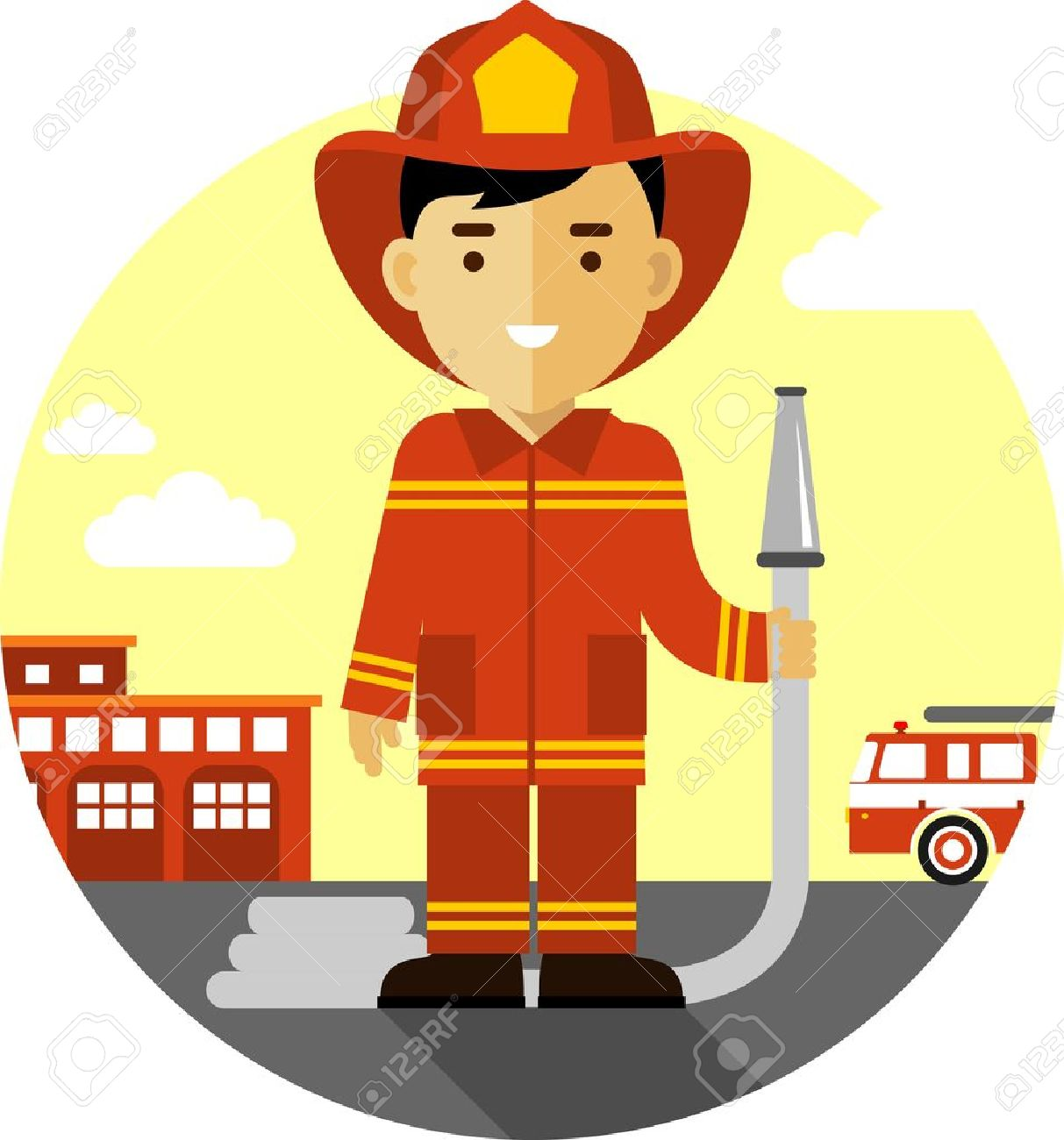 hight resolution of firefighter in uniform on background with fire truck and fire station illustration