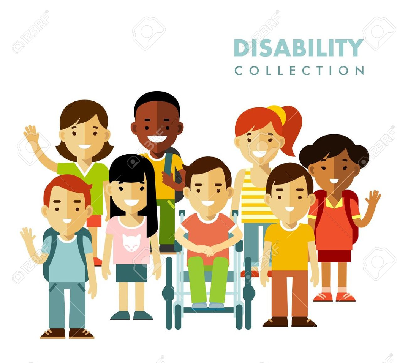 hight resolution of disabled boy in wheelchair together with friends isolated on white background