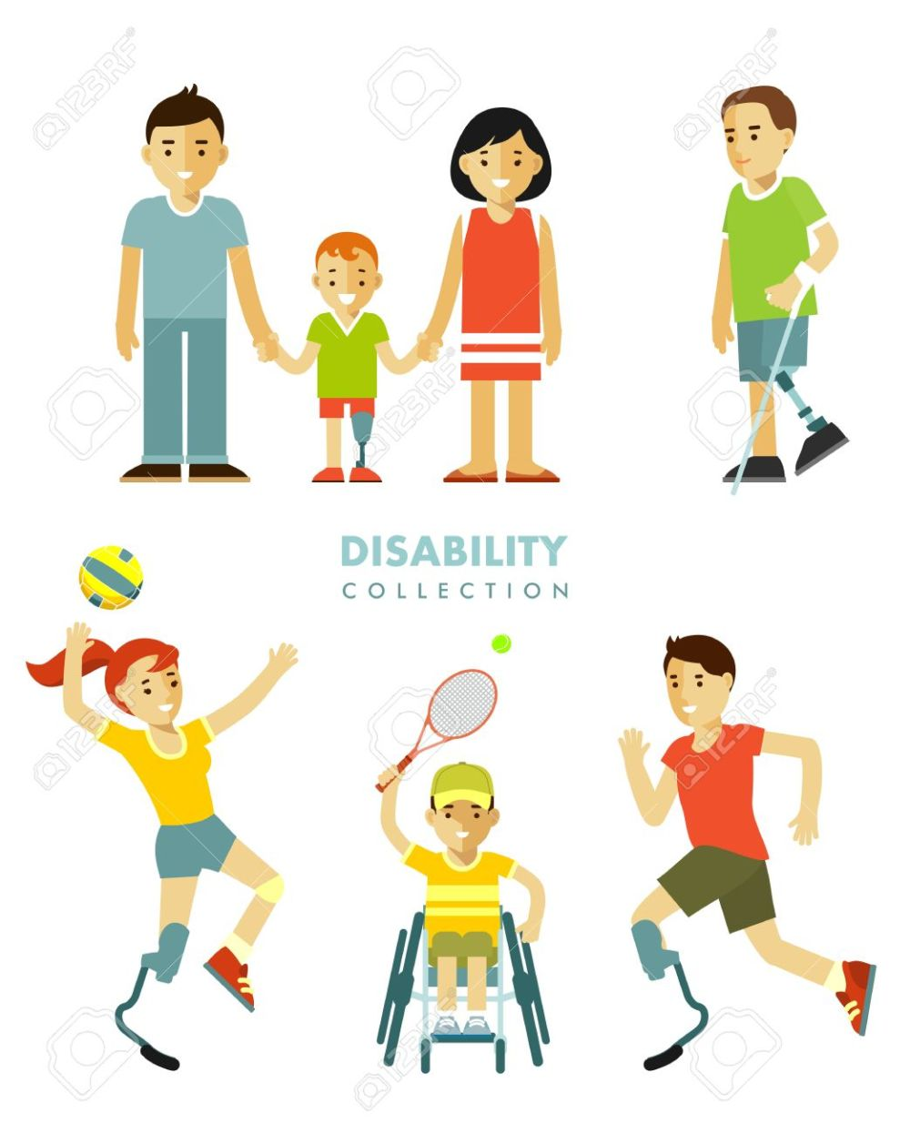 medium resolution of young disabled person with prosthesis in wheelchair in sport activity child and family isolated