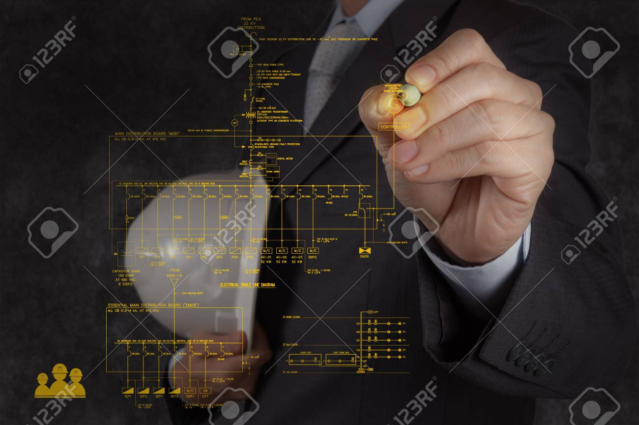 hight resolution of engineer draws an electronic single line and fire alarm riser schematic diagram stock photo 20101353