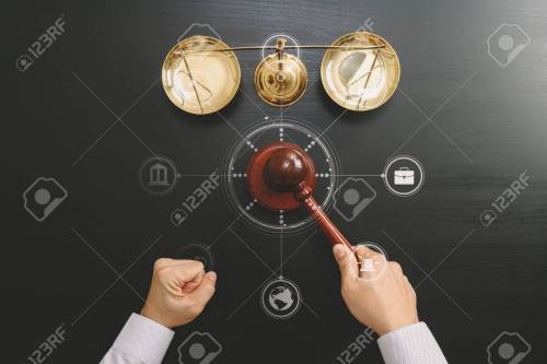 small resolution of top view of male judge hand in a courtroom with the