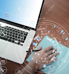businessman hand working with modern laptop computer in modern office with virtual icon diagram stock photo [ 1300 x 866 Pixel ]