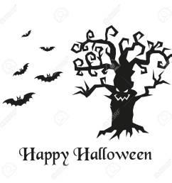 spooky silhouette of halloween tree and bats vector illustration stock vector 69275163 [ 1300 x 1300 Pixel ]