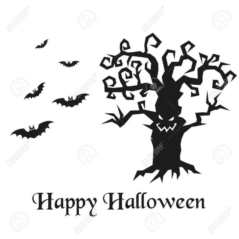 medium resolution of spooky silhouette of halloween tree and bats vector illustration stock vector 69275163