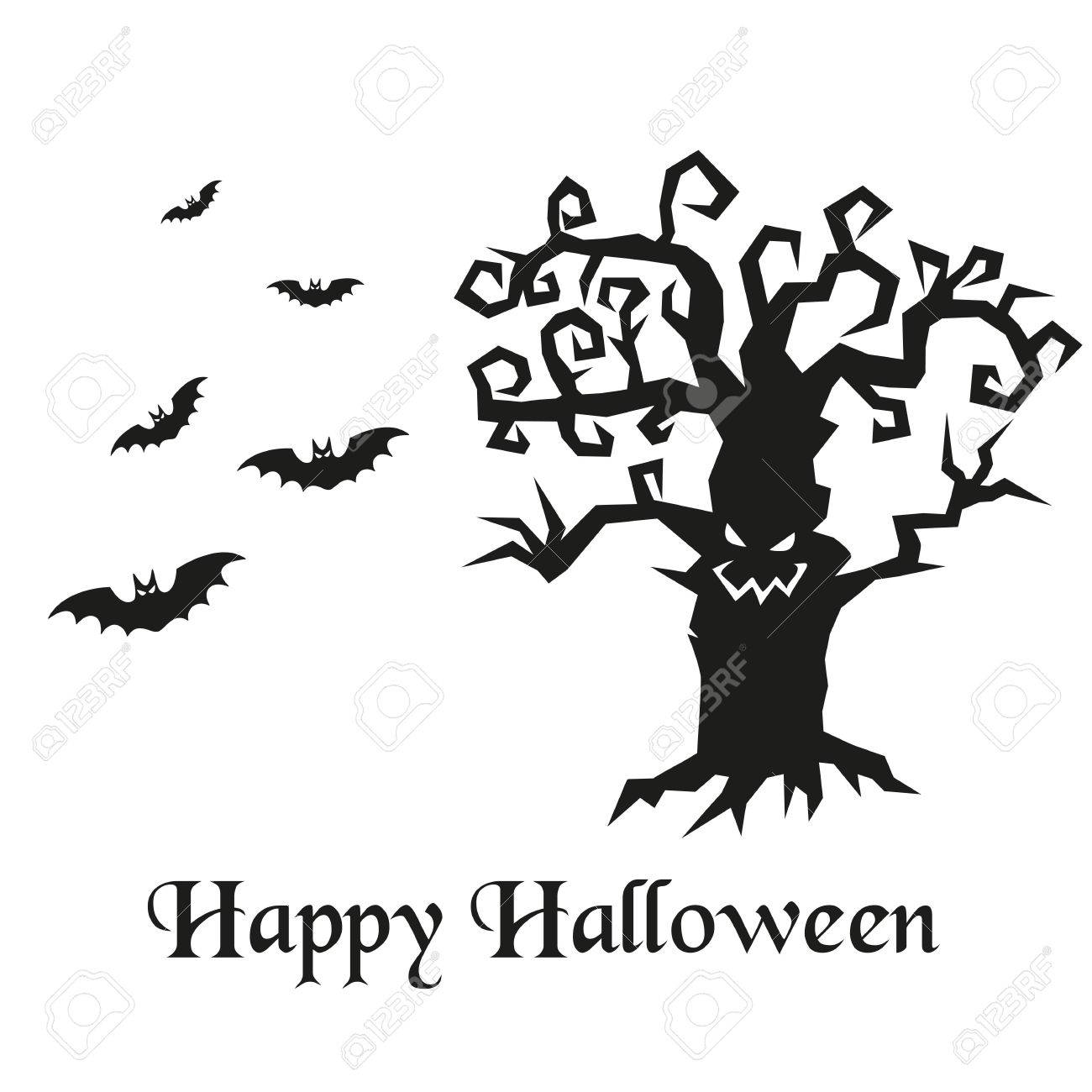 hight resolution of spooky silhouette of halloween tree and bats vector illustration stock vector 69275163