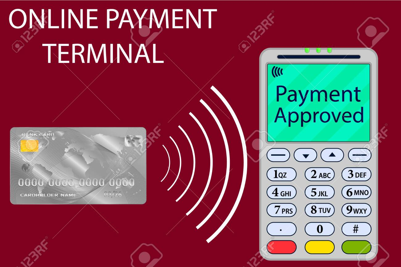 Vector Illustration Of Bank Card And Terminal Internet Payments Royalty Free Cliparts Vectors And Stock Illustration Image 122606386