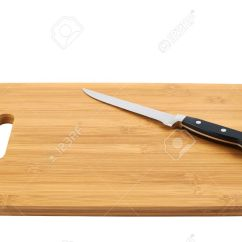 Kitchen Cutting Board Redo Countertops Steel Knife On The Wooden Isolated Over White Background Stock Photo 20557062
