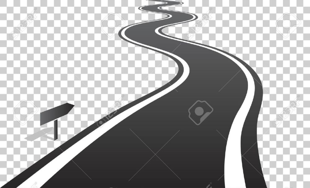 medium resolution of vector winding road with white lines leaving over the horizon vector illustration on transparent background