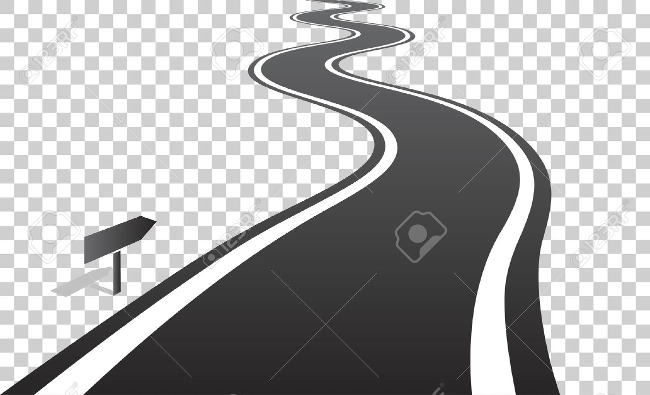 hight resolution of vector winding road with white lines leaving over the horizon vector illustration on transparent background