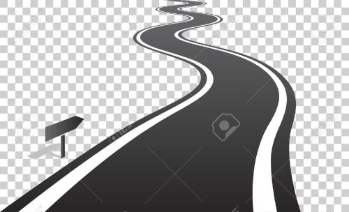 small resolution of vector winding road with white lines leaving over the horizon vector illustration on transparent background