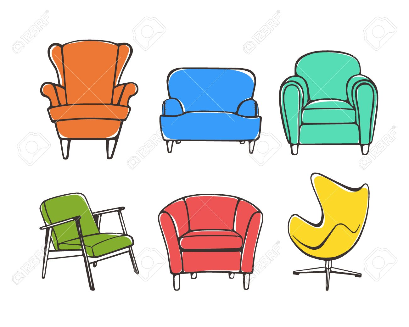 Styles Of Chairs Vector Graphic Set Of Hand Drawn Accent Chairs Accent Chair