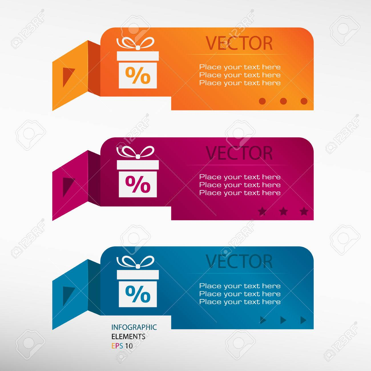 hight resolution of gift discount box on origami paper banners can be used for workflow layout diagram