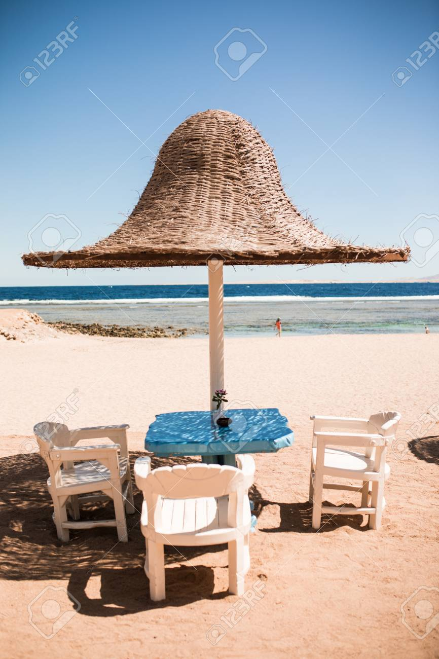 Beach Lounge Chairs Vacation Holidays Beach Lounge Chairs Under Tent On Beach