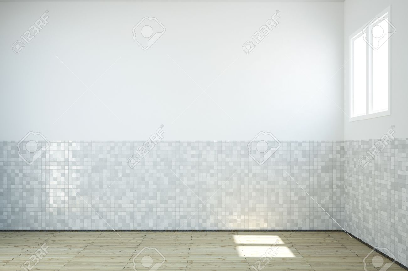 Empty Bathroom With Windows And Tiles On Wall And Wooden Floor Stock Photo Picture And Royalty Free Image Image 26785200