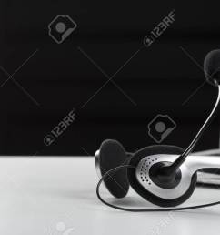 call center support concept headset on keyboard computer laptop stock photo 94359841 [ 1300 x 866 Pixel ]
