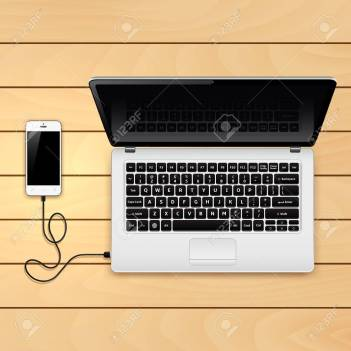 USB Cable Connect Phone And Laptop Royalty Free Cliparts, Vectors ...