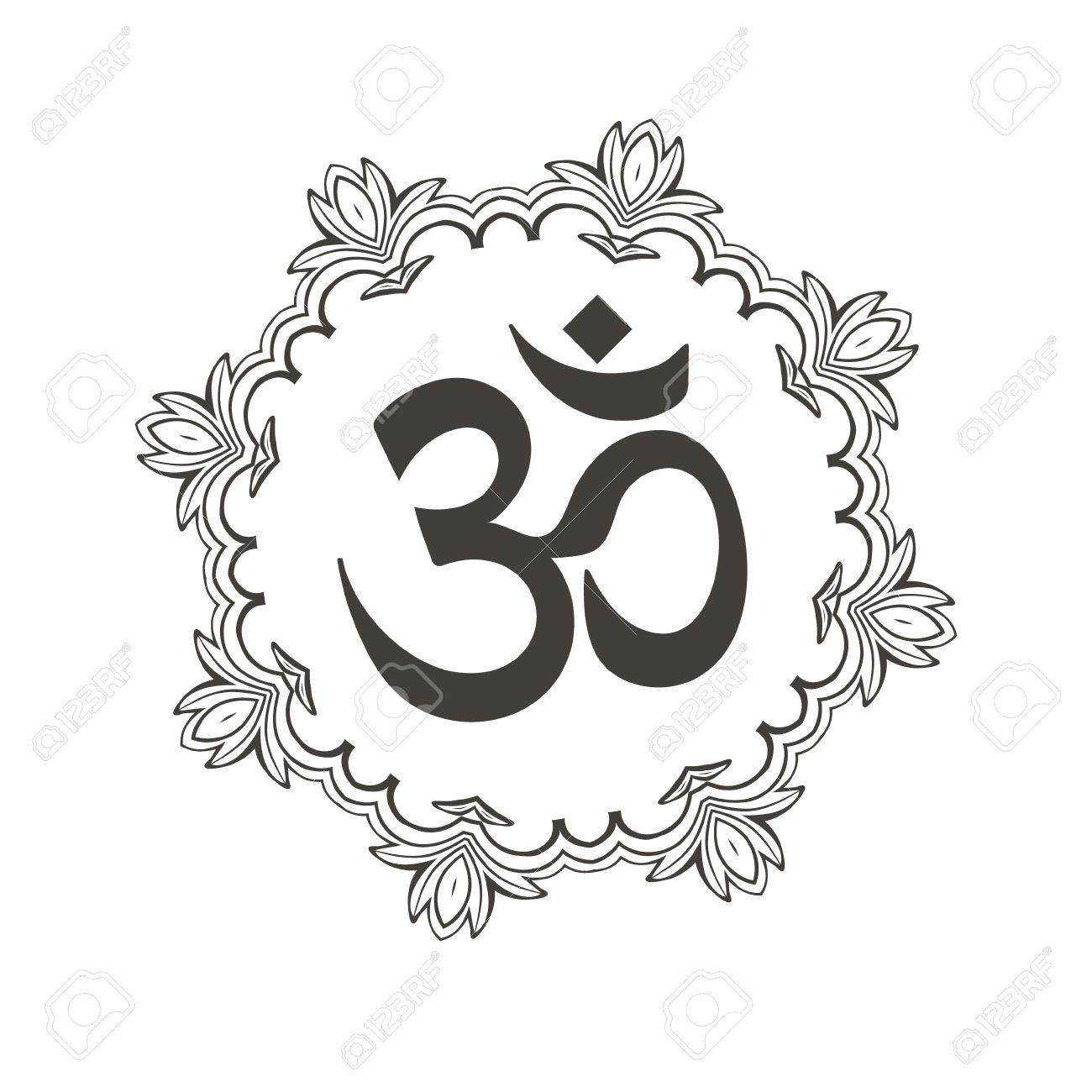 Símbolo De Diwali De Om Con La Mandala Gran Diseño Para Tatuaje