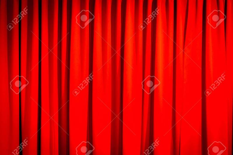 Red Closed Curtain With A Light Spot Use For Background Stock Photo 57594685
